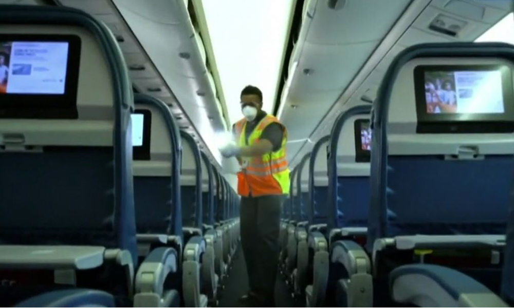 disinfecting an airplane
