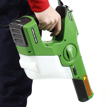 Handheld electrostatic sprayer for cleaning car interior.